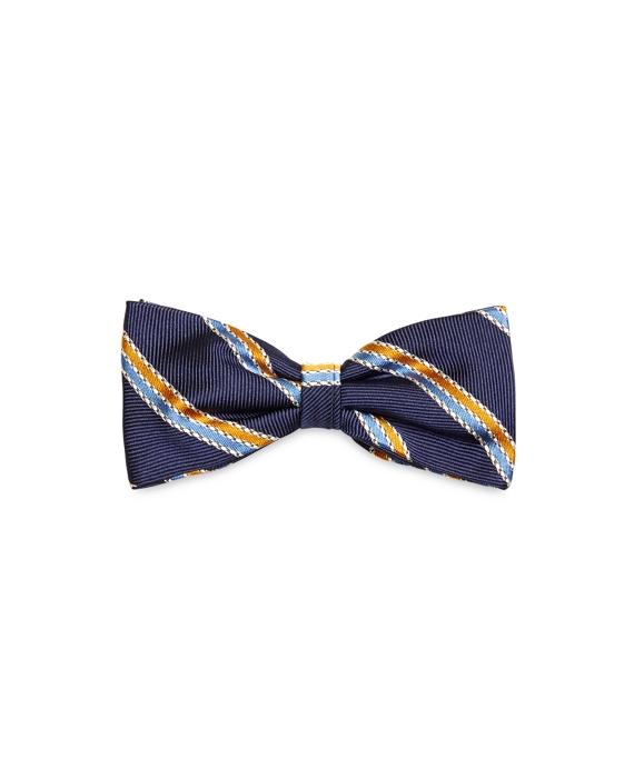 Chain Stripe Pre-Tied Bow Tie Navy