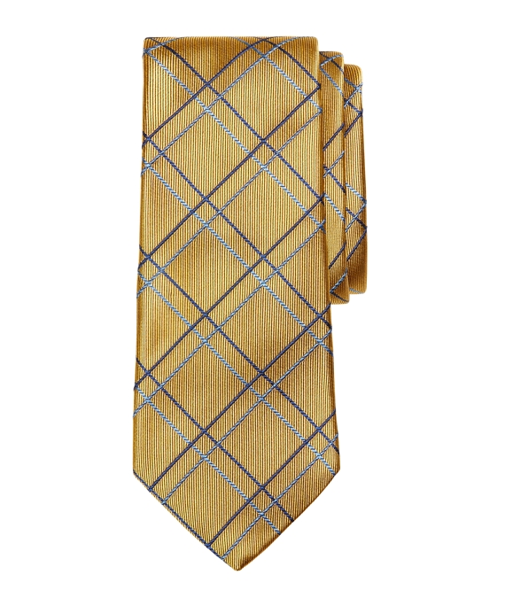 Two-Tone Plaid Tie Gold