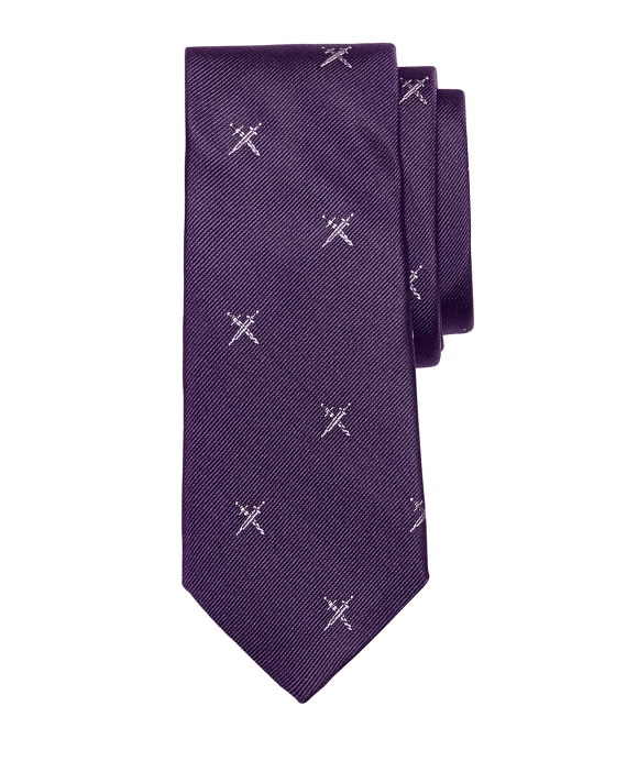 Allover Swords Tie Purple