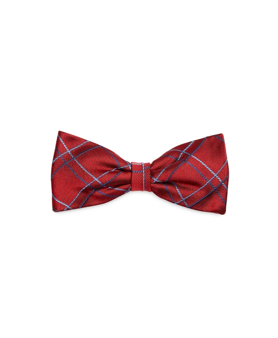 Two-Tone Plaid Pre-Tied Bow Tie Red