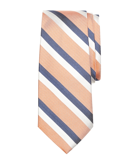 Double Herringbone Stripe Silk Tie Orange