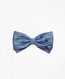 Framed Narrow Stripe Pre-Tied Bow Tie
