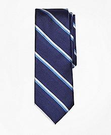Textured Double Stripe Silk Tie