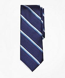 Textured Double Stripe Silk Tie