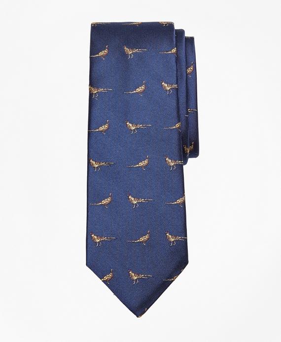 Pheasant Print Silk Tie Navy
