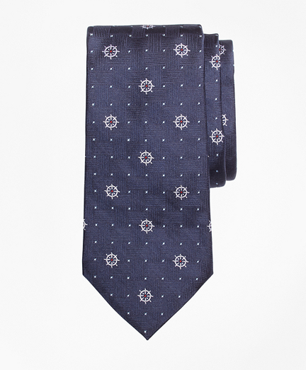 Nautical Print Silk Tie
