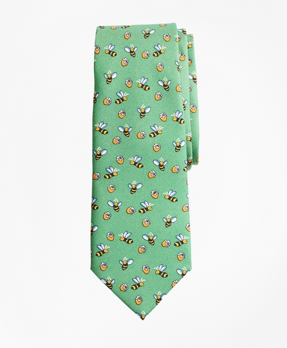 Bee and Honey Print Tie Green