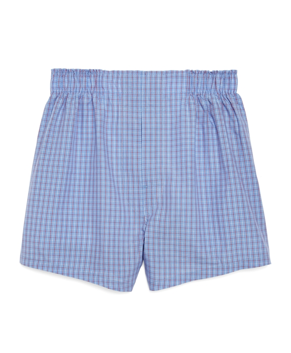 Blue with Red Check Boxers Blue