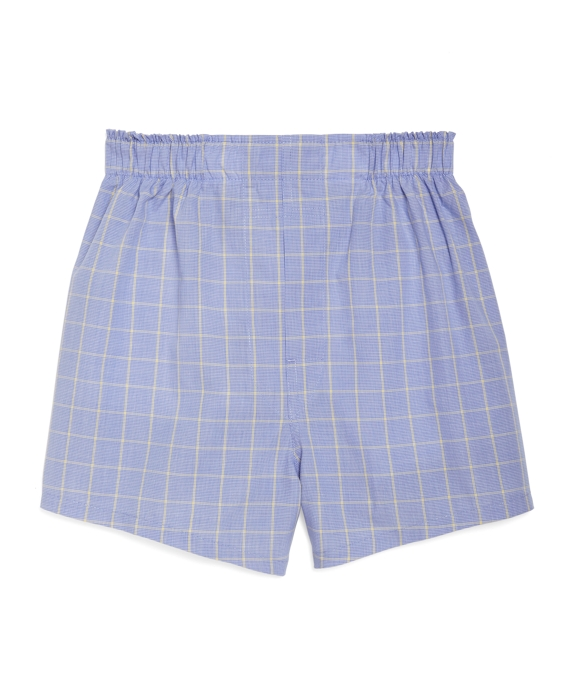 Blue with Yellow Houndstooth Boxers Blue