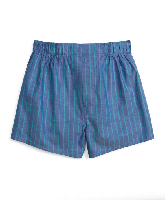 Blue and Green Ground Stripe Boxers Blue-Green