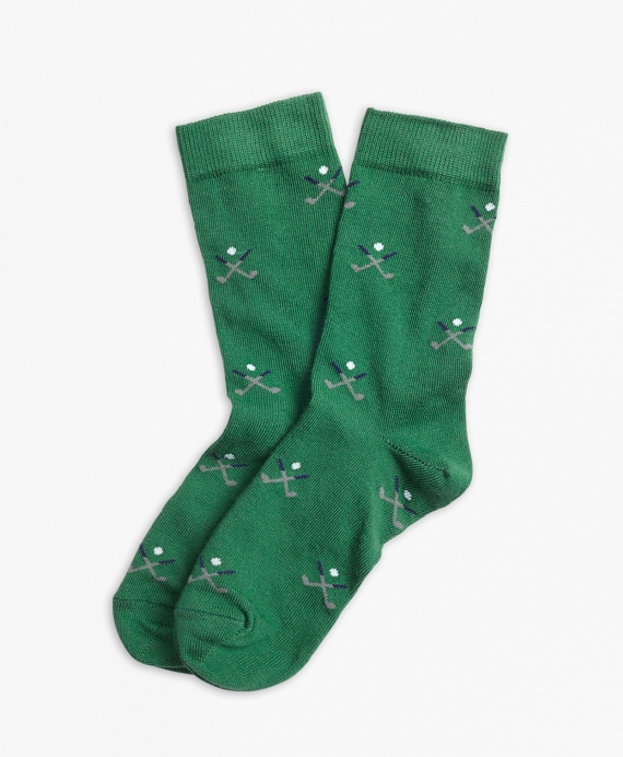 Golf Embroidered Socks Green