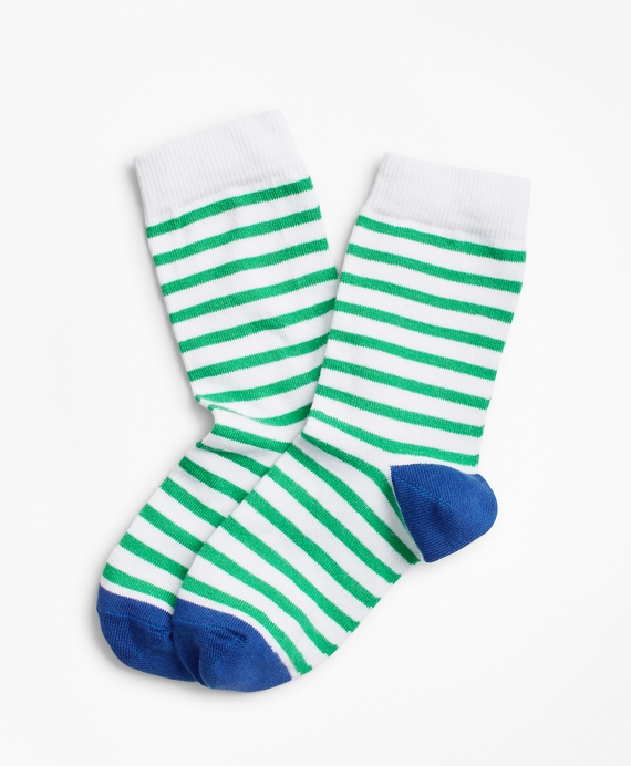 Cotton Striped Socks Green-Multi