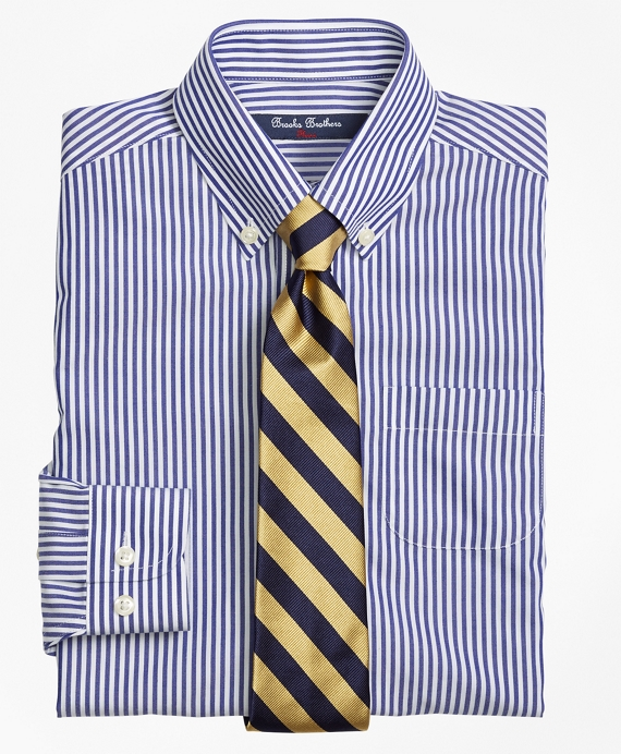 Non-Iron Supima® Cotton Broadcloth Bengal Stripe Dress Shirt Navy