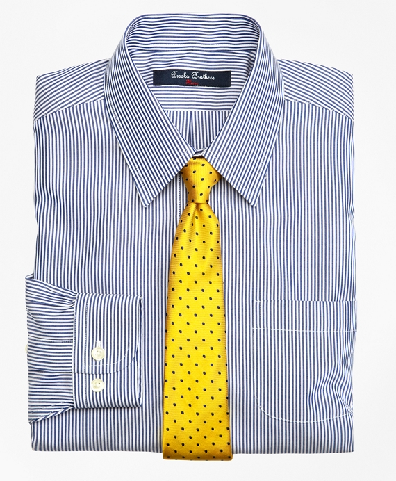 Non-Iron Supima® Cotton Broadcloth Candy Stripe Dress Shirt Blue