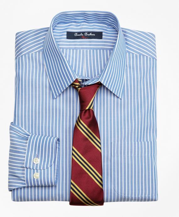 Non-Iron Supima® Cotton Broadcloth Ground Stripe Dress Shirt Blue