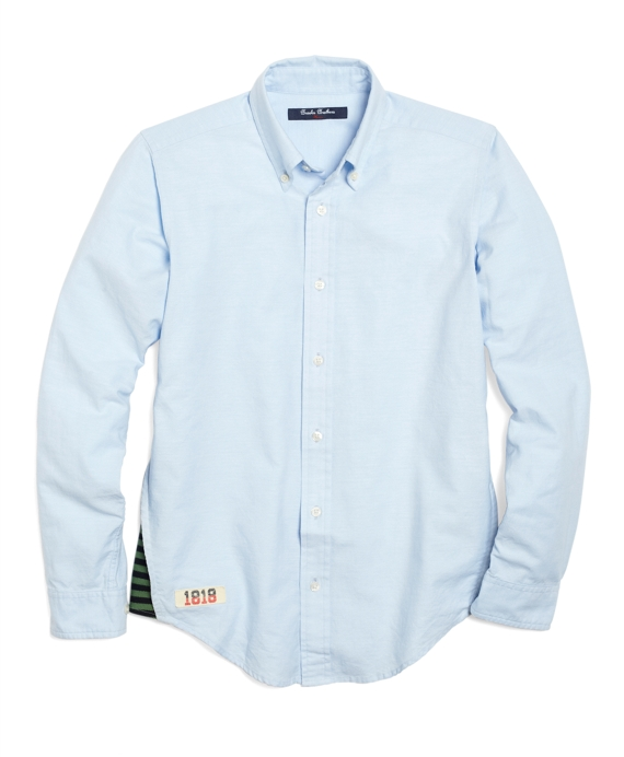 Solid Oxford Sport Shirt with Knit Gusset Blue