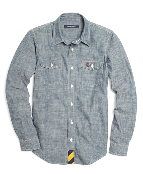 Chambray Novelty Sport Shirt Indigo