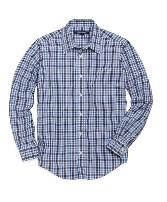 Non-Iron Double Tattersall Sport Shirt Blue