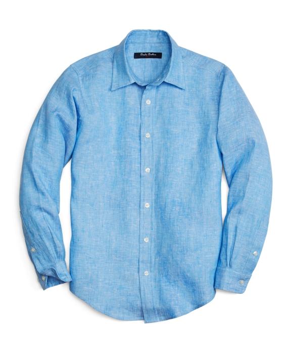 Solid Linen Sport Shirt Blue