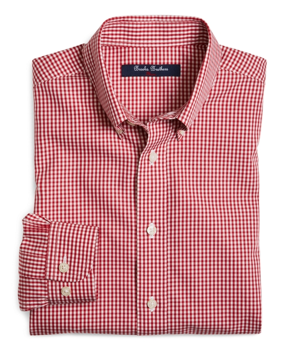 Non-Iron Gingham Sport Shirt Red