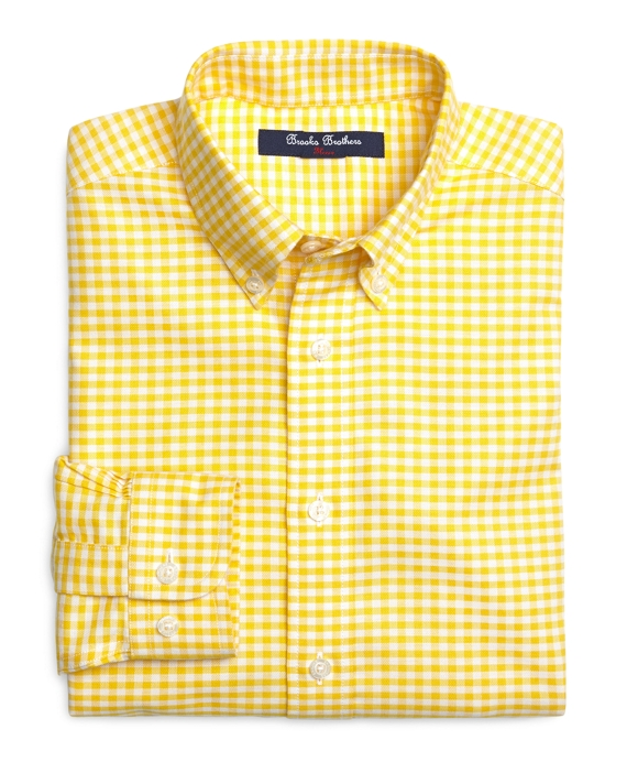 Non-Iron Gingham Sport Shirt Yellow
