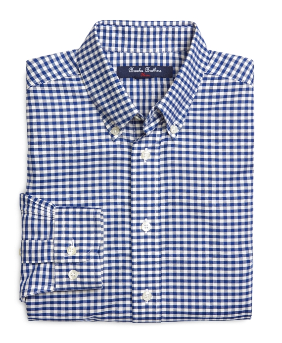 Non-Iron Gingham Sport Shirt Blue