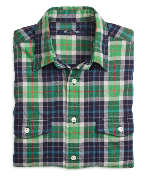 Flannel Sport Shirt Green-Blue