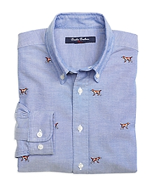 Hunting Dog Embroidered Oxford Sport Shirt