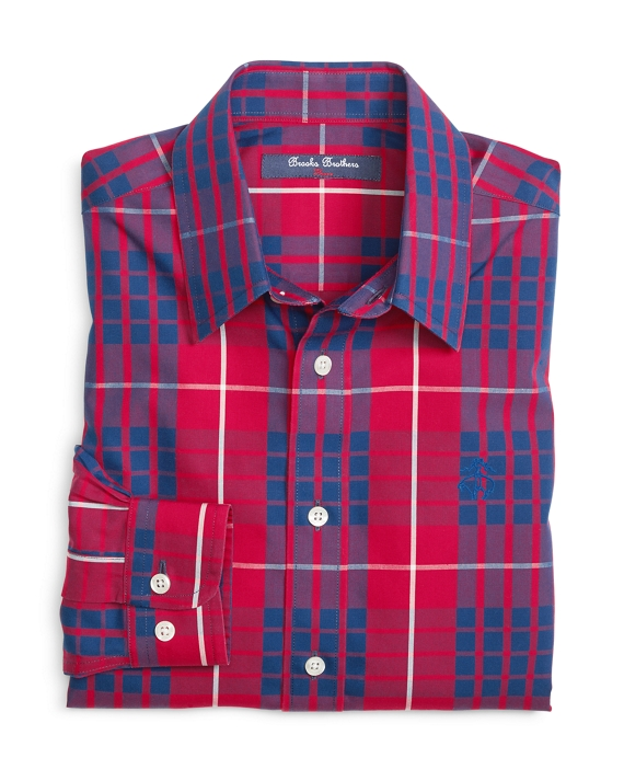 Non-Iron Tartan Sport Shirt Red-Blue