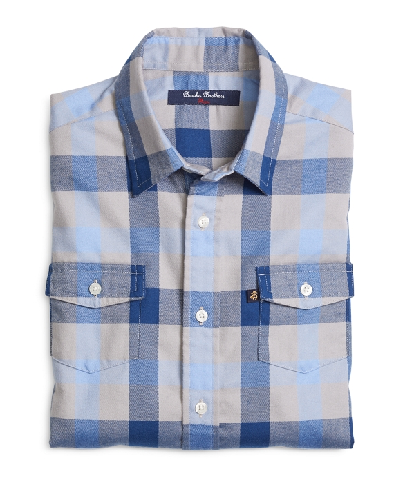 Flannel Large Plaid Sport Shirt Blue-Grey