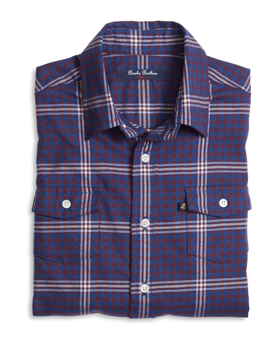 Flannel Micro Buffalo Check Sport Shirt Blue Multi