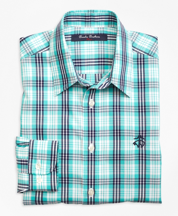 Non-Iron Multi Check Tattersall Sport Shirt Aqua