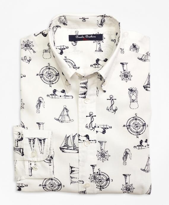 Nautical Print Sport Shirt