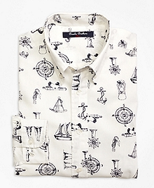 Nautical Print Sport Shirt