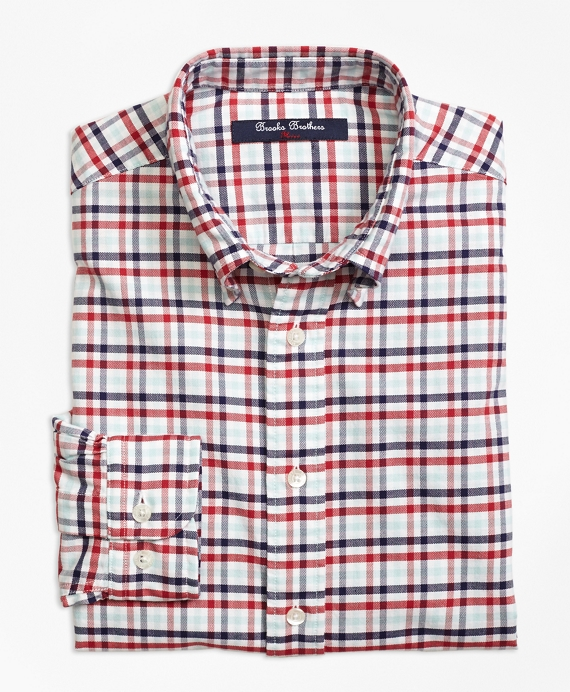Supima® Cotton Oxford Multi Check Plaid Sport Shirt