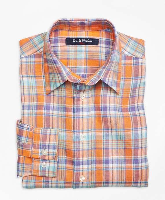Irish Linen Plaid Sport Shirt Orange