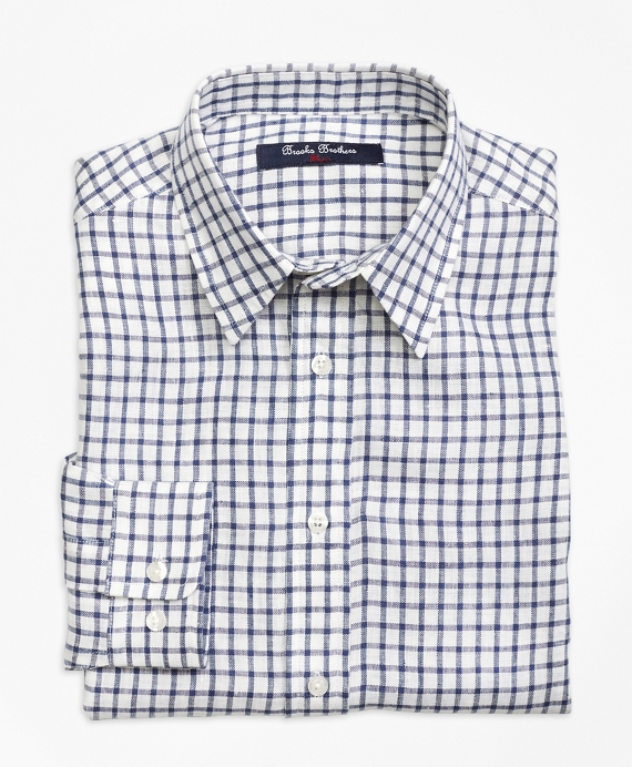 Irish Linen Mini Check Sport Shirt Indigo