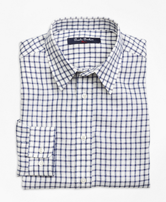 Irish Linen Mini Check Sport Shirt