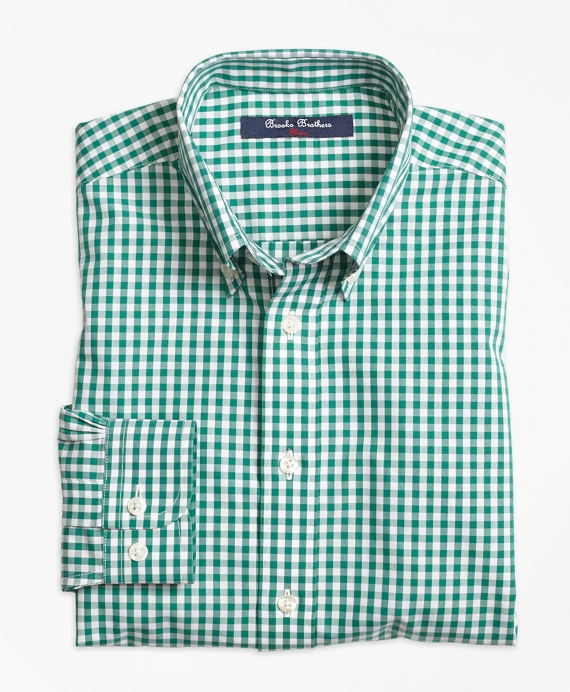 Non-Iron Gingham Sport Shirt Green