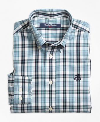 Non-Iron Small Plaid Sport Shirt