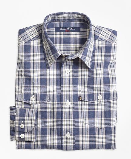 Chambray Plaid Sport Shirt