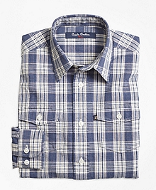 Chambray Plaid Sport Shirt