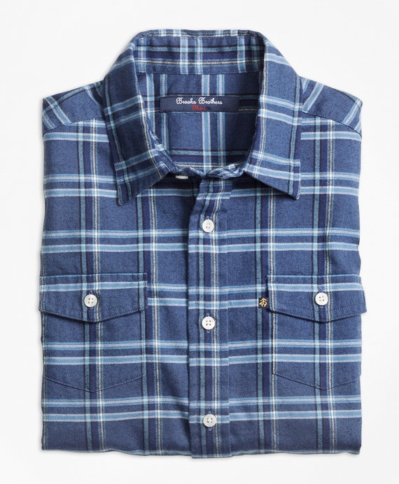 Multi Plaid Flannel Sport Shirt Dark Blue