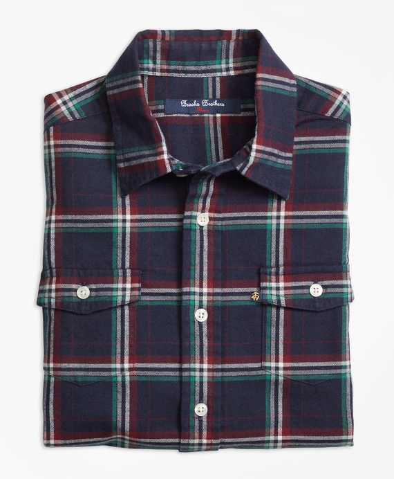 Holiday Plaid Flannel Sport Shirt Navy Multi