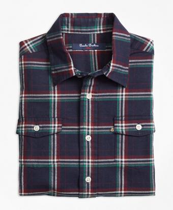 Holiday Plaid Flannel Sport Shirt