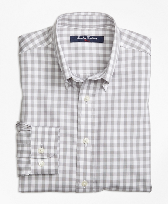Non-Iron Gingham Sport Shirt Grey