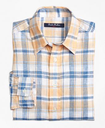Irish Linen Plaid Sport Shirt