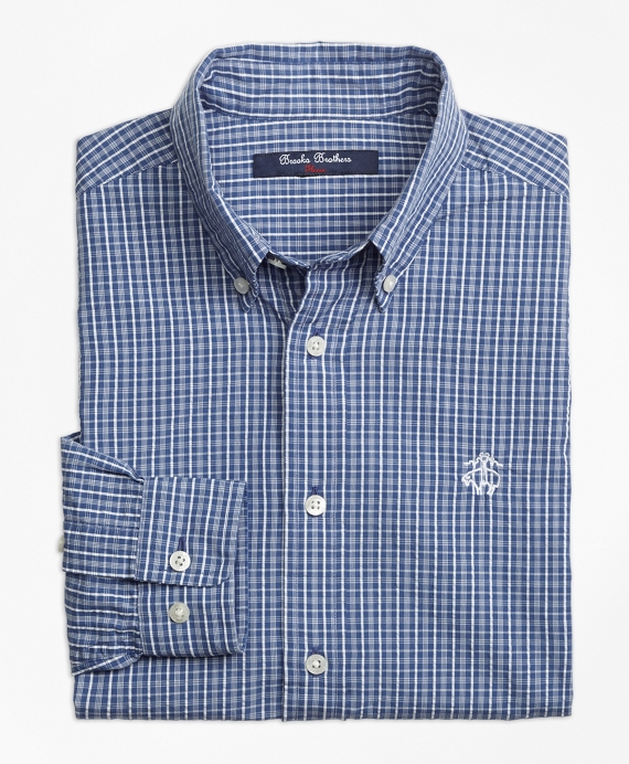 Seersucker Sport Shirt Navy-White
