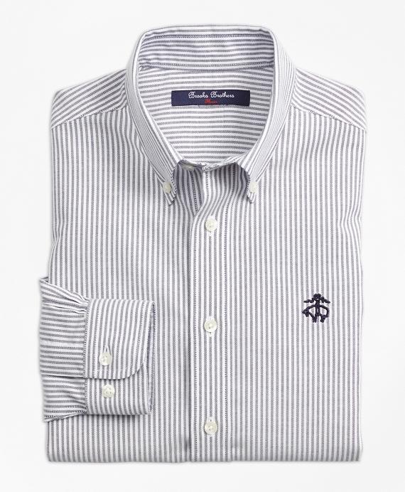 Non-Iron Club Stripe Sport Shirt Navy
