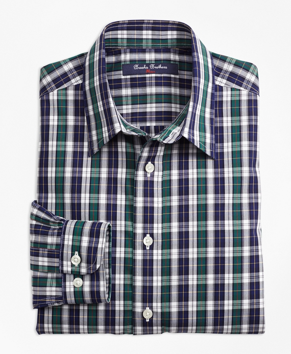 Non-Iron Tattersall Sport Shirt Navy-Green
